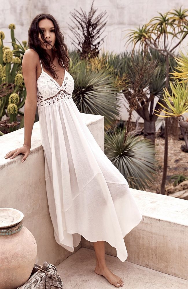8b5dfc2c47e NEW Free People Endless Summer ivory white Gauzy Crochet Lace Bust Maxi  Dress L  FreePeopleEndlessSummer  swingdressAsymmetricalHemMaxi  Casual