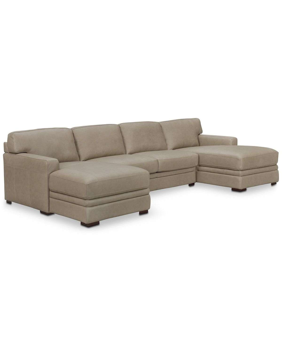 Avenell 3 Pc Leather Sectional with Double Chaise Created for