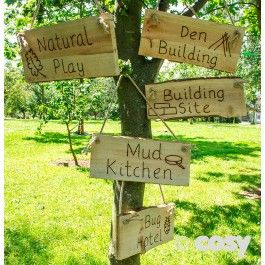 This Set Of Plank Signs Are Burnt With The Different Areas Of Any Great Natural Play Space Drilled So You Can Hang Them Easily From T Outdoor Nursery Eyfs Outdoor Area