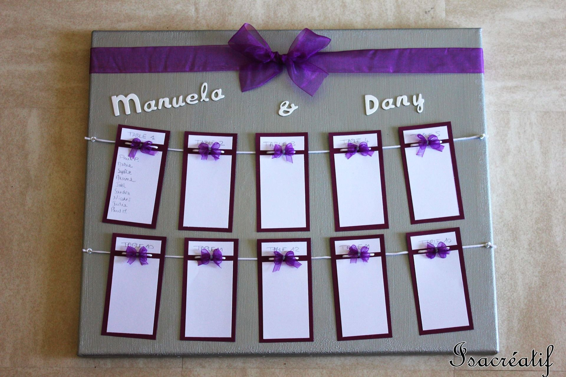 plan de table pour mariage violet et argent mariage plan de tables and violets. Black Bedroom Furniture Sets. Home Design Ideas