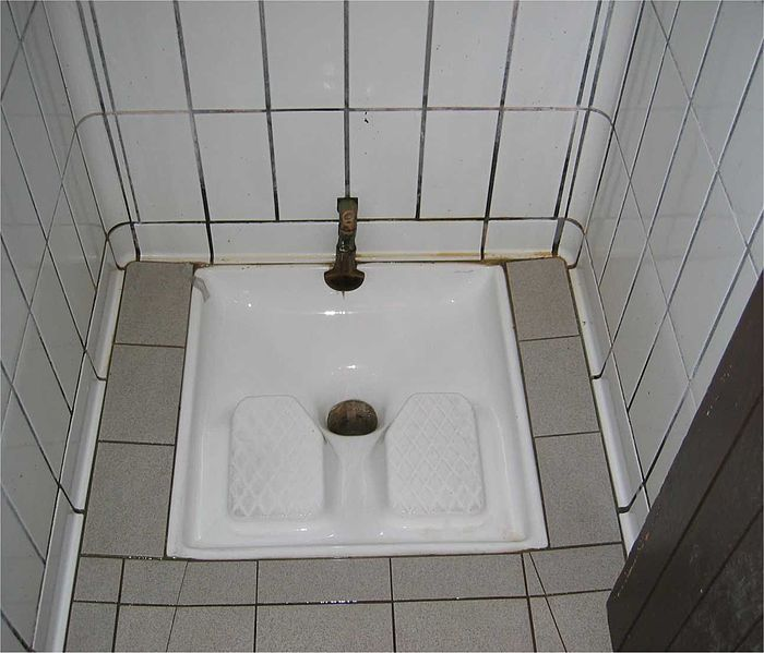French squatter-style toilet in a motorway rest area.