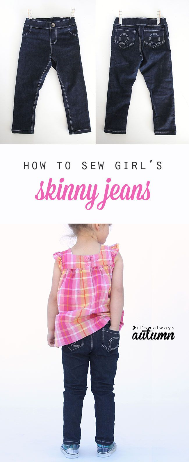 how to sew girls\' skinny jeans from a leggings pattern | Things to ...