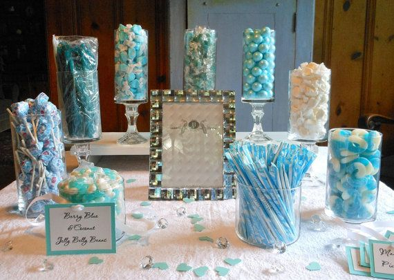 Complete Turquoise Tiffany Blue And White Candy Buffet Decoration For Weddings Parties Showers Etc Blue Candy Buffet Candy Buffet Decorations Candy Buffet Set