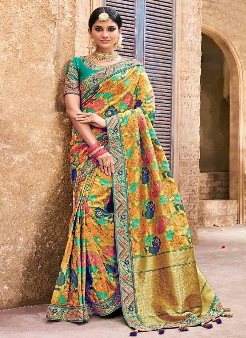 29af499398 Mustard Woven Banarasi Saree With Blouse, Designer Border And Designer  Pallu.