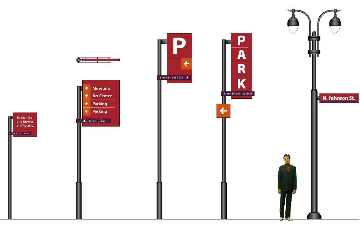 This image shows the proposed wayfinding signage system for Decor systems