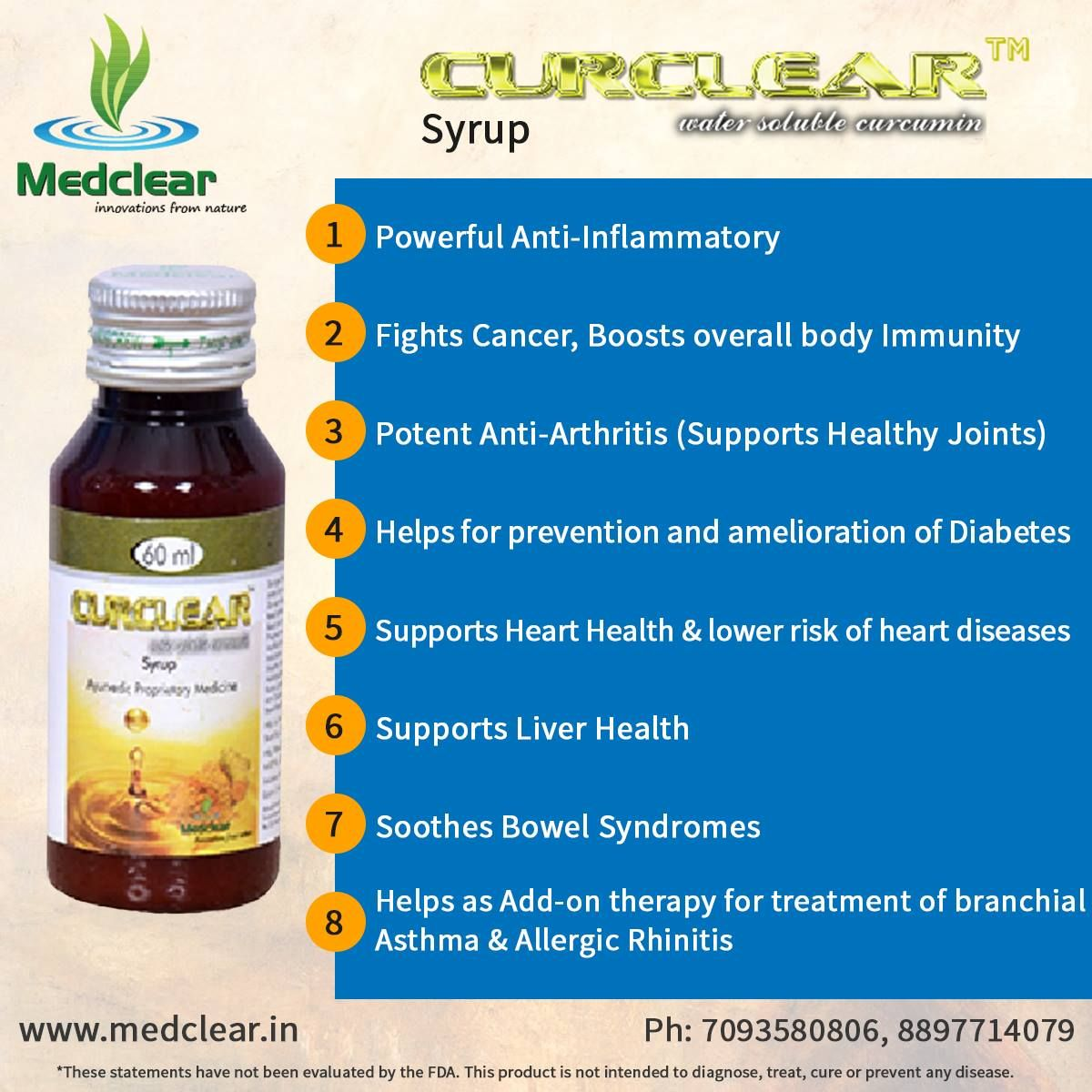 Health Benefits of #Curclear Syrup - Water Soluble #Curcumin.  For more about our products dial on: 7093580806, 8897714079 || Visit: http://www.medclear.in/