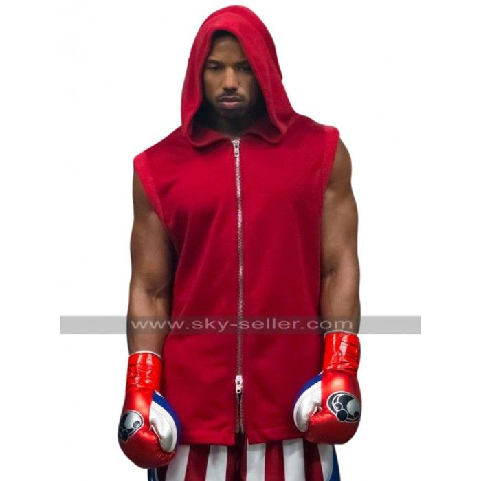 391f5c7810a363 Adonis Johnson Creed II Michael B. Jordan Hooded Red Cotton Vest in ...