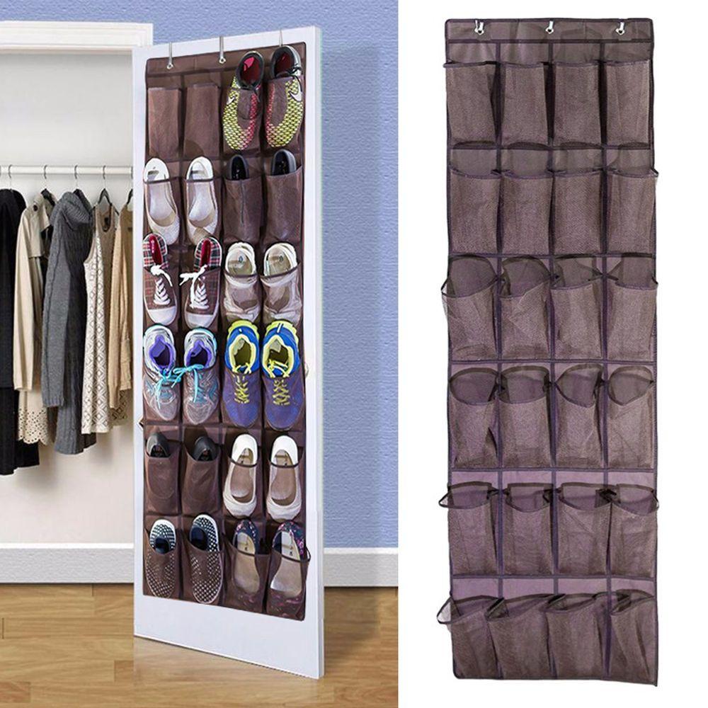 12 Pockets Over Door Shoe Hanging Bag Rack Organiser Hanger Storage Tidy Box