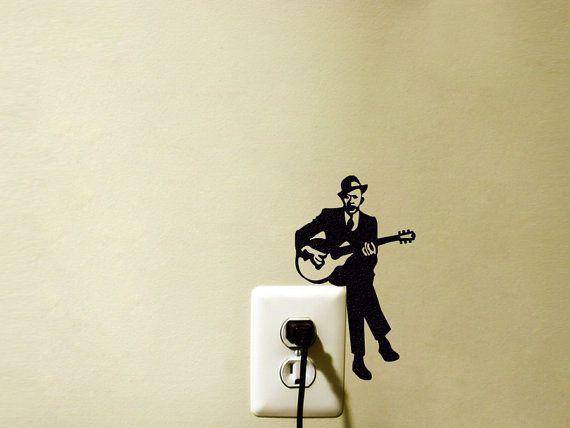 Guitar Player Light Switch Velvet Sticker - Jazz Guitarist Wall ...