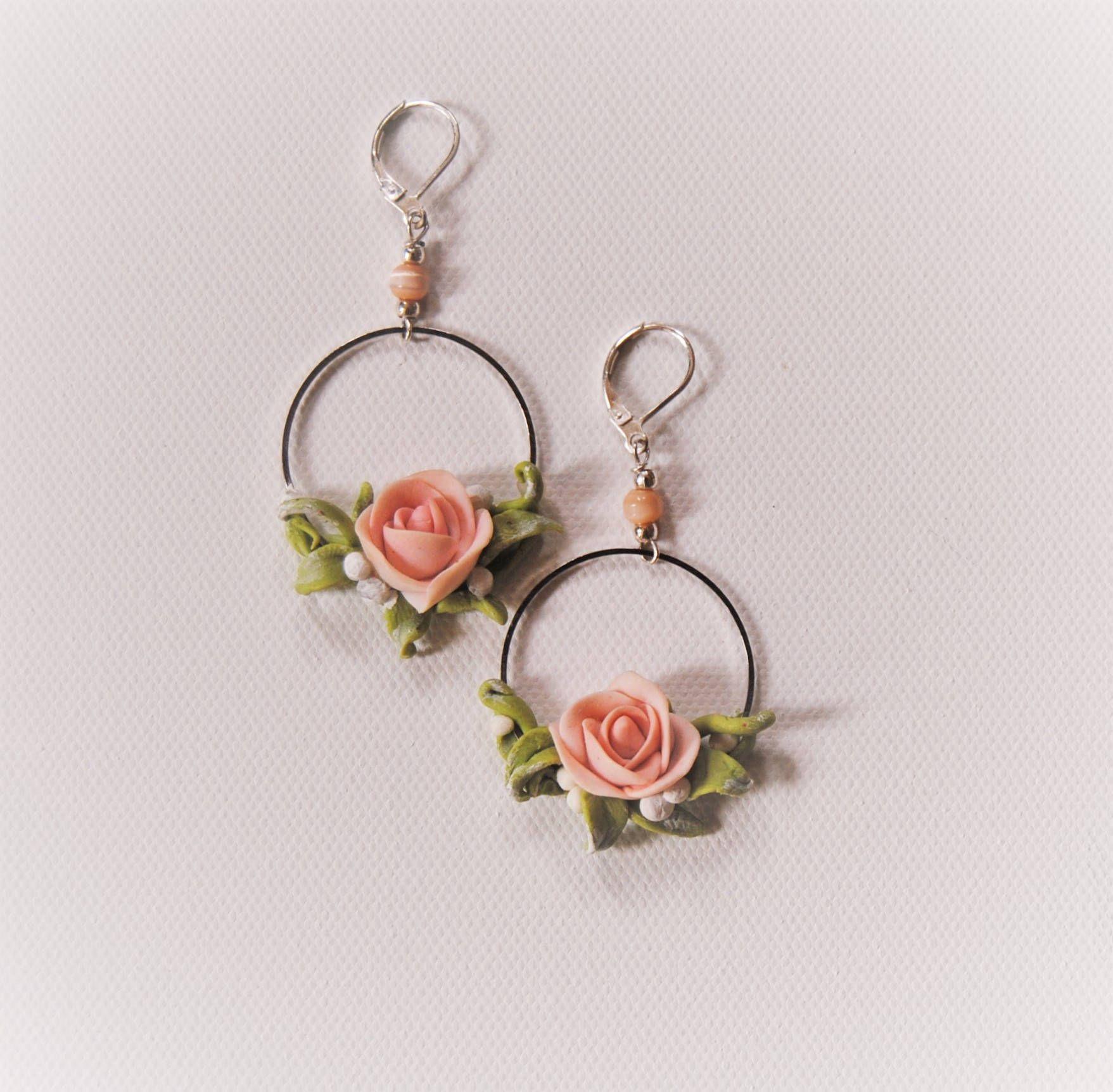 Wedding Earrings Rose Earrings Flower Jewelry Clay Flower Earrings Drop Earrings Polymer Clay Roses Flower Earring Flower Jewellery Rose Earrings Earrings