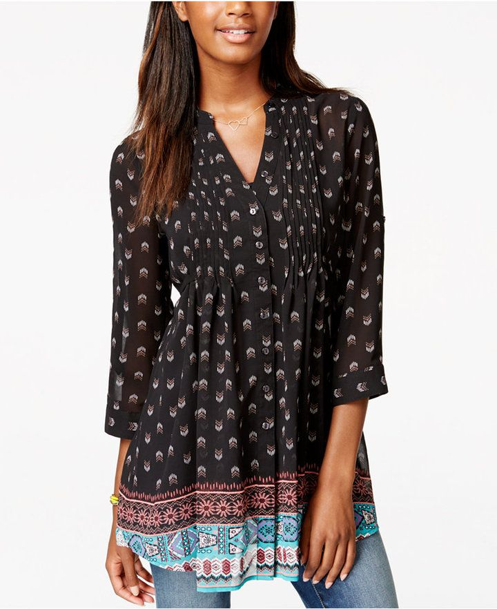 American Rag Printed Pintucked Tunic Blouse, Only at Macy's
