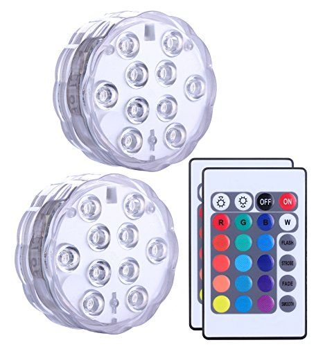 Submersible Led Lights Remote Controlled Set Of 2 Qoolife Battery