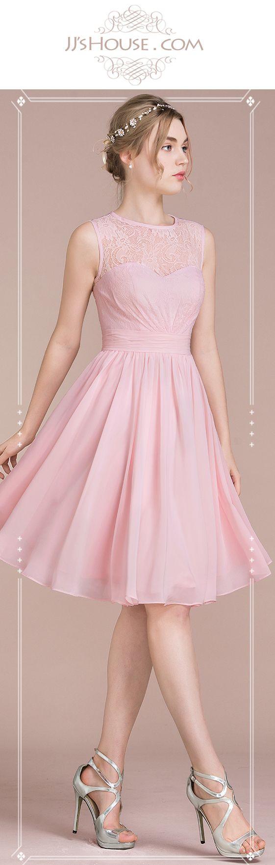 A-Line/Princess Scoop Neck Knee-Length Chiffon Lace Bridesmaid Dress ...