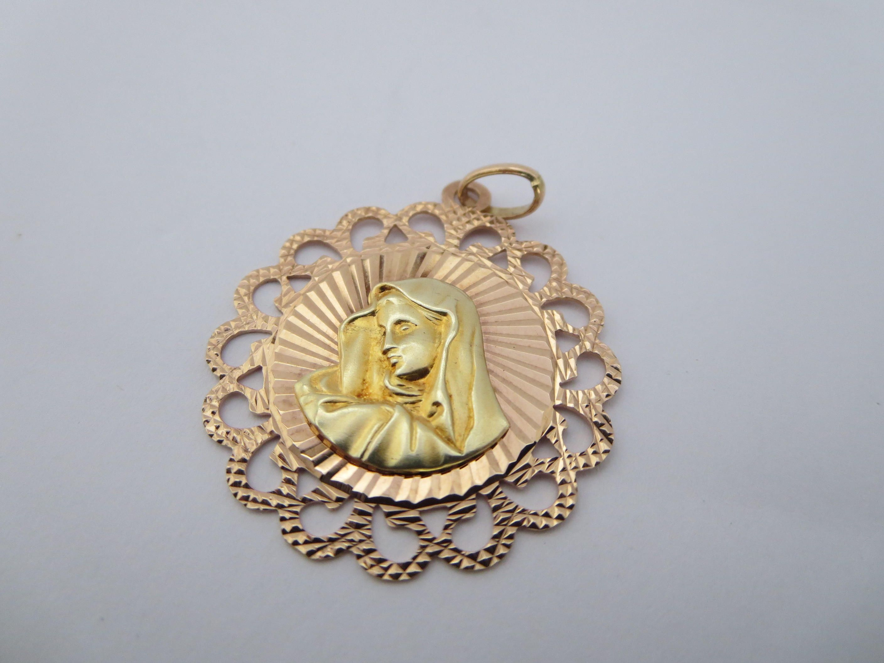 RELIGIOUS JEWELRY 14k gold 10k Virgin Mary Medal Medaillon