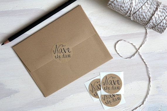 Rustic Kraft Save the Date stickers // #savethedate #weddings #etsy #paperlaced #handmade #stationery #stationary