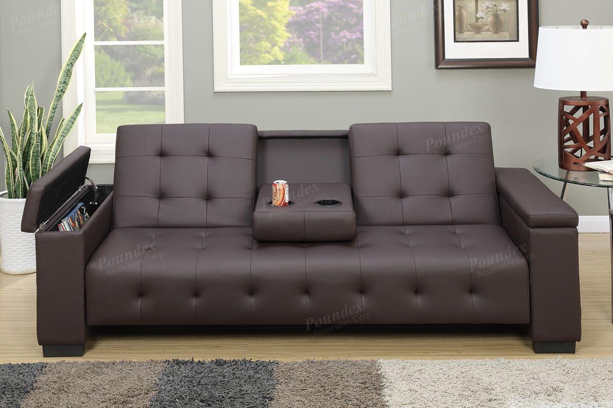 Espresso Leather Adjustable Sofa Bed Futon W Storage Compartments