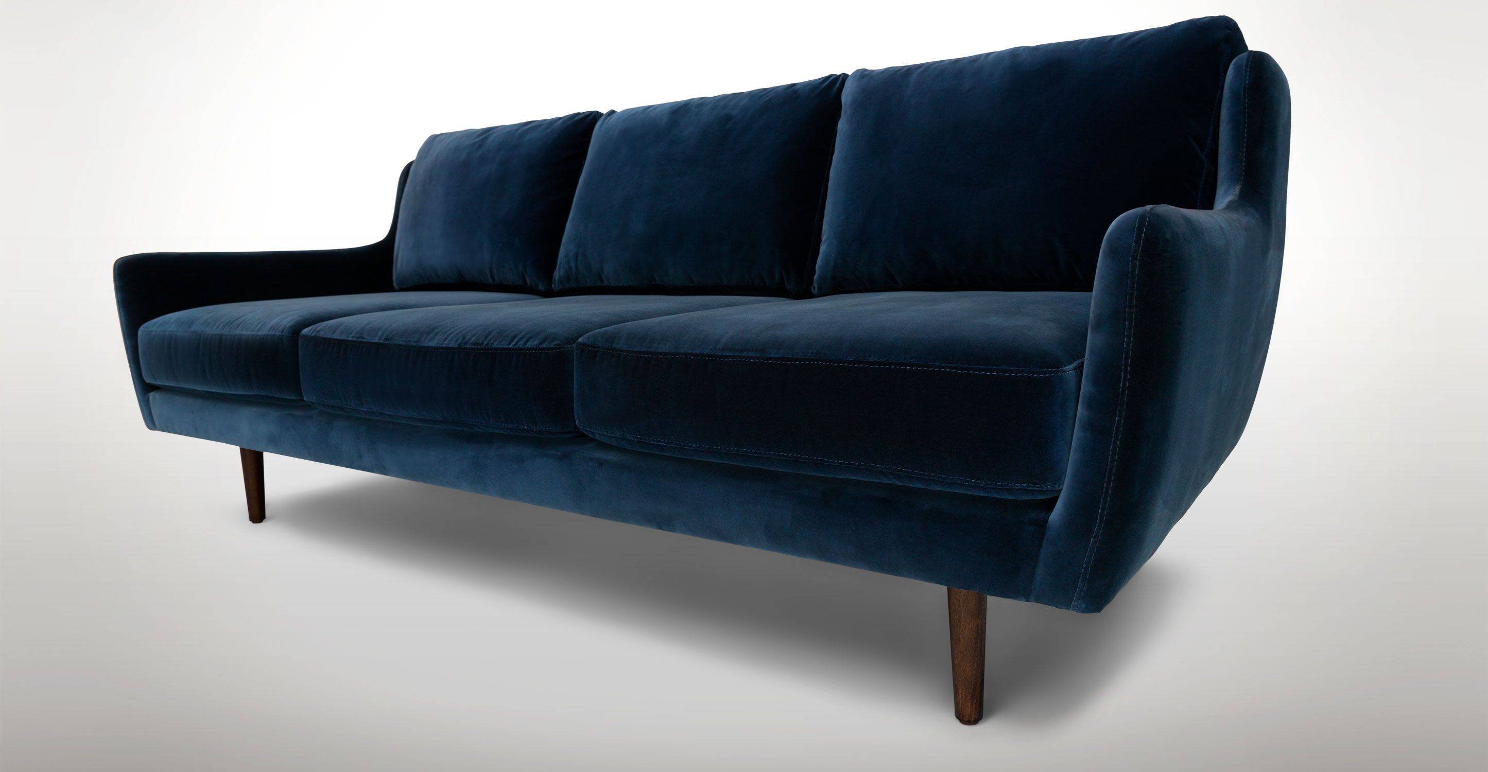 contemporary furniture sofa. blue velvet sofa walnut wood legs article matrix contemporary furniture b
