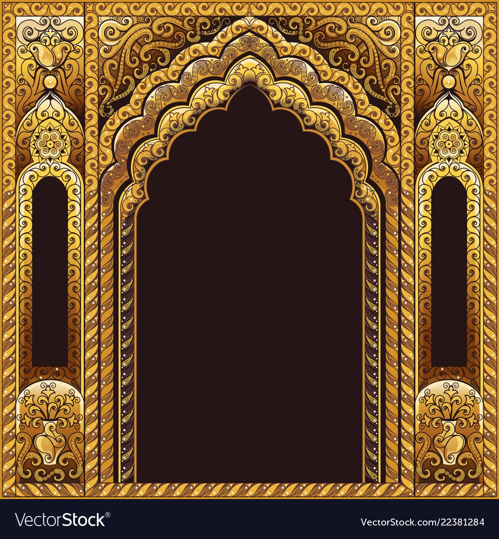 India Arch Gold And Background Black Vector Image On Vectorstock Royal Background Studio Background Images Chinese Background