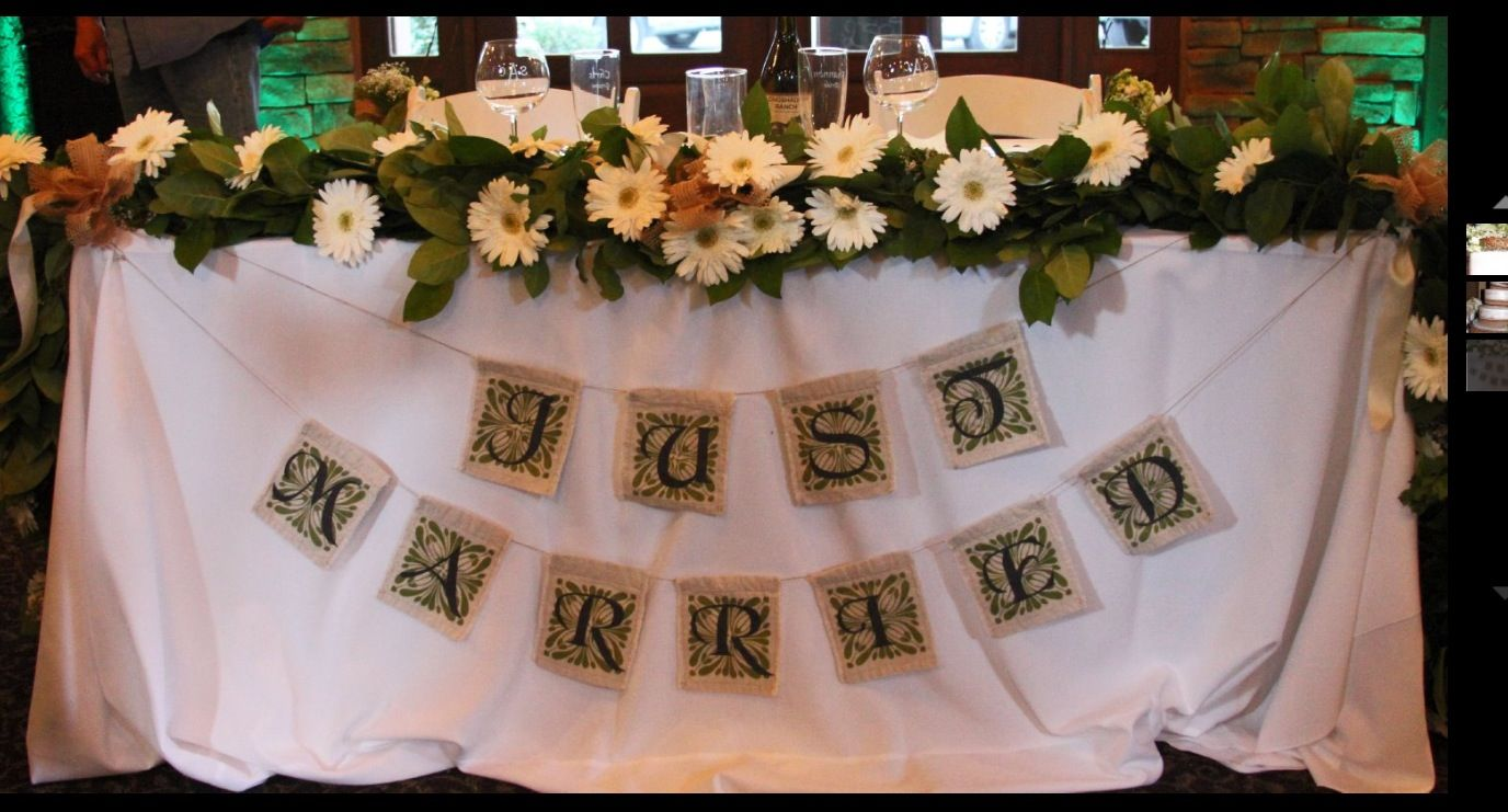 Just married table decorations
