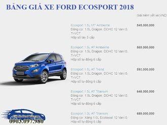 Bảng giá cập nhật cho dòng xe Ford Ecosport facelift 2018 hoàn toàn mới năm 2018 chính thức áp dụng tháng 3/2018 với 5 phiên bản khác nhau về options nên nhiều dòng giá cho khách hàng lựa chọn mua phù hợp với mức chi tiêu tài chính cho xe ô tô phục vụ nhu cầu đi lại. Mọi chi tiết vui lòng liên hệ qua số hotline: 0903 097 980 Mr Hoàng Long Đại lý Sài Gòn Ford Trần Hưng Đạo Q1 HCM.