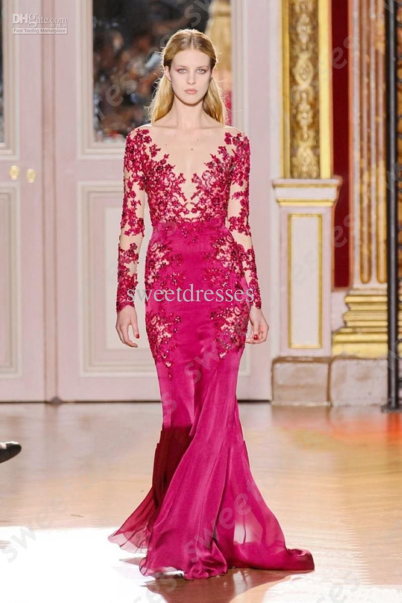 Zuhair Murad 2015 evening gowns Sheer Neck Mermaid Fushcia Lace Long ...