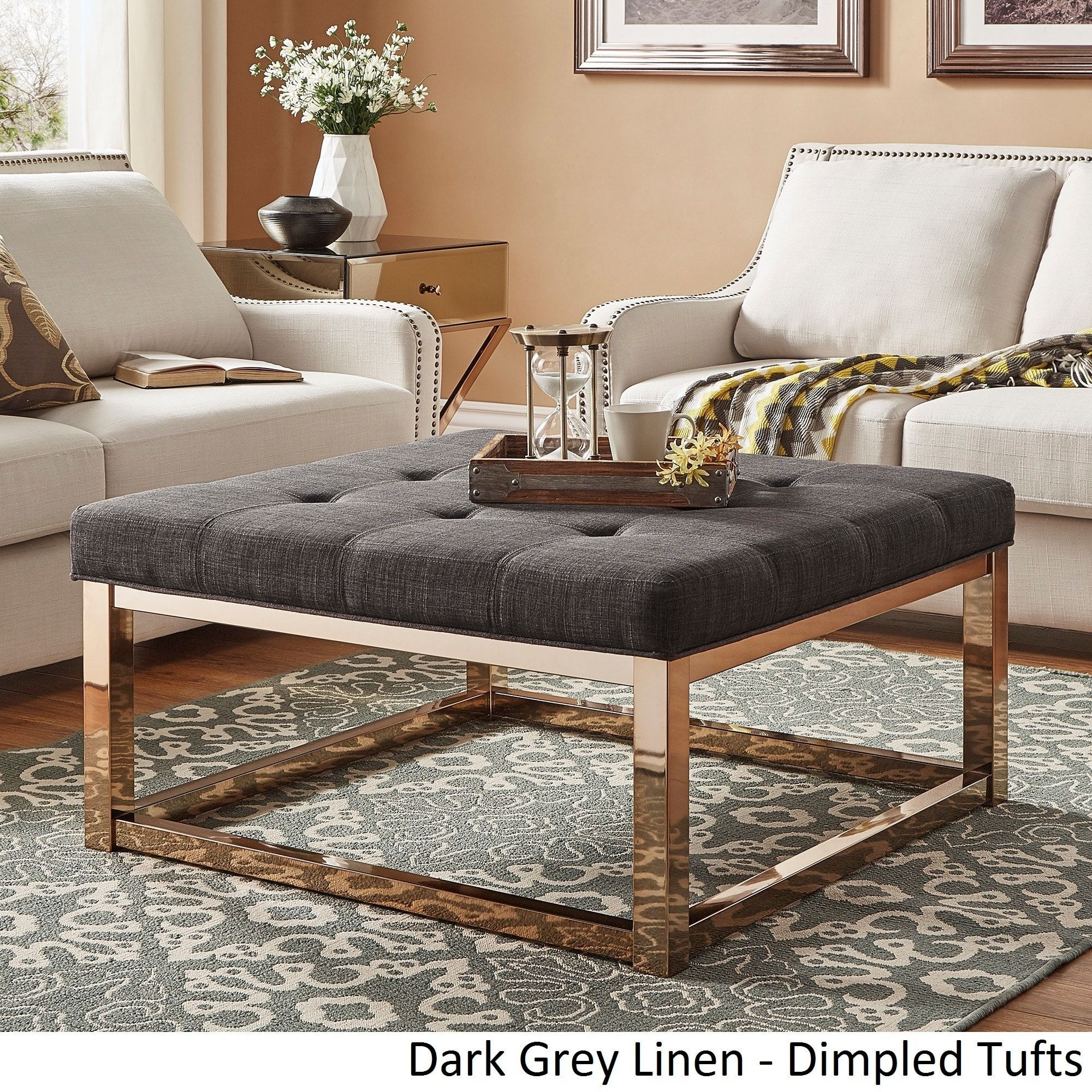 Solene Square Base Ottoman Coffee Table - Champagne Gold by iNSPIRE Q Bold  ([Beige Linen]- Smooth Top), Size Large (Fabric)