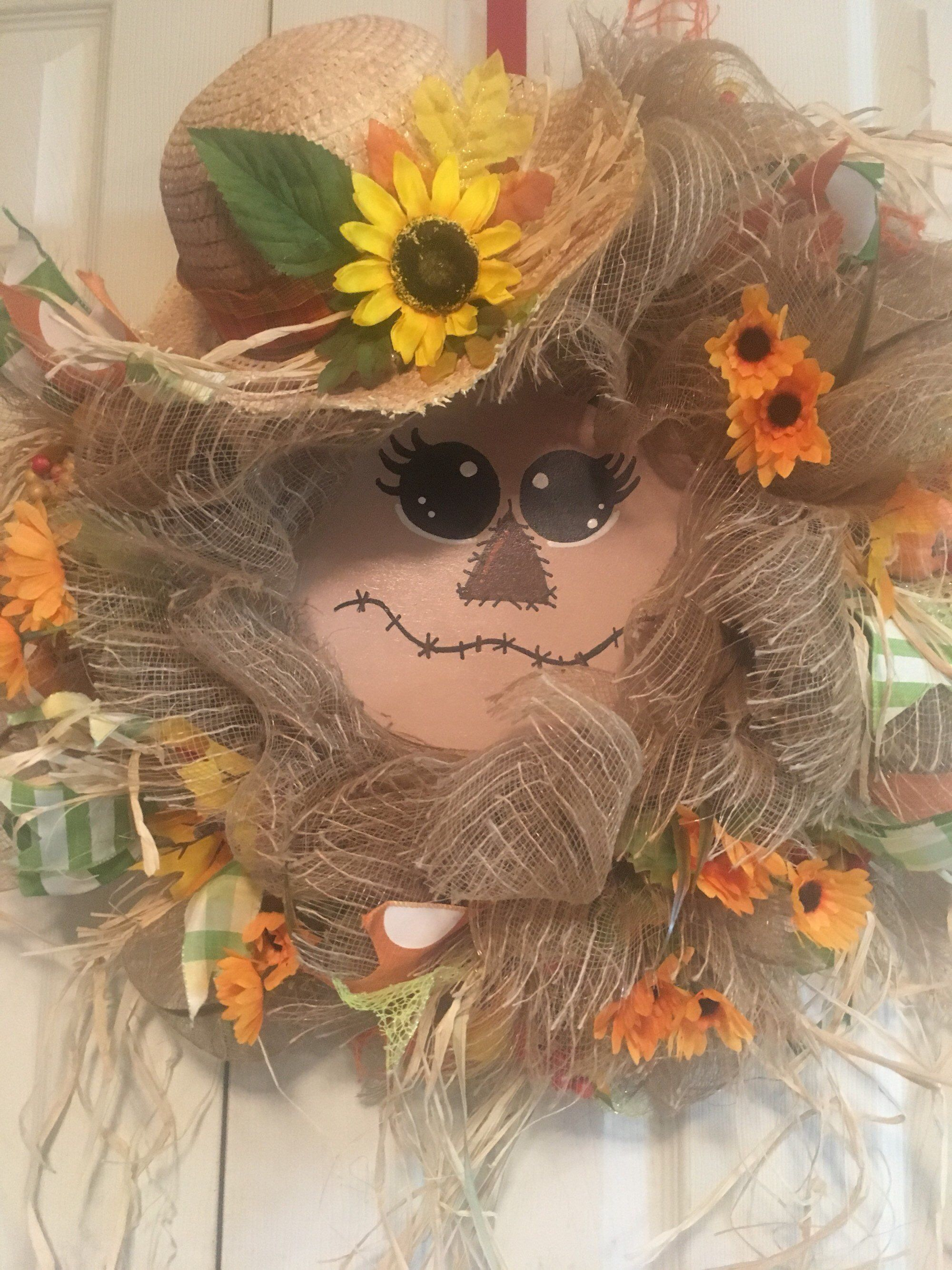 Scarecrow Wreath, Painted Scarecrow Face Wreath, Fall Scarecrow Wreath, Handpainted Scarecrow Face Wreath, Scarecrow Mesh Wreath, Fall #scarecrowwreath