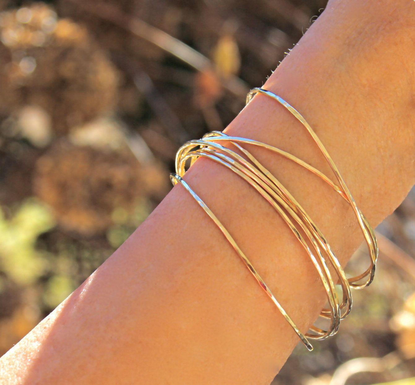 Bangle Solid 14k Gold Handmade Gold Bangle Bracelet Hammered