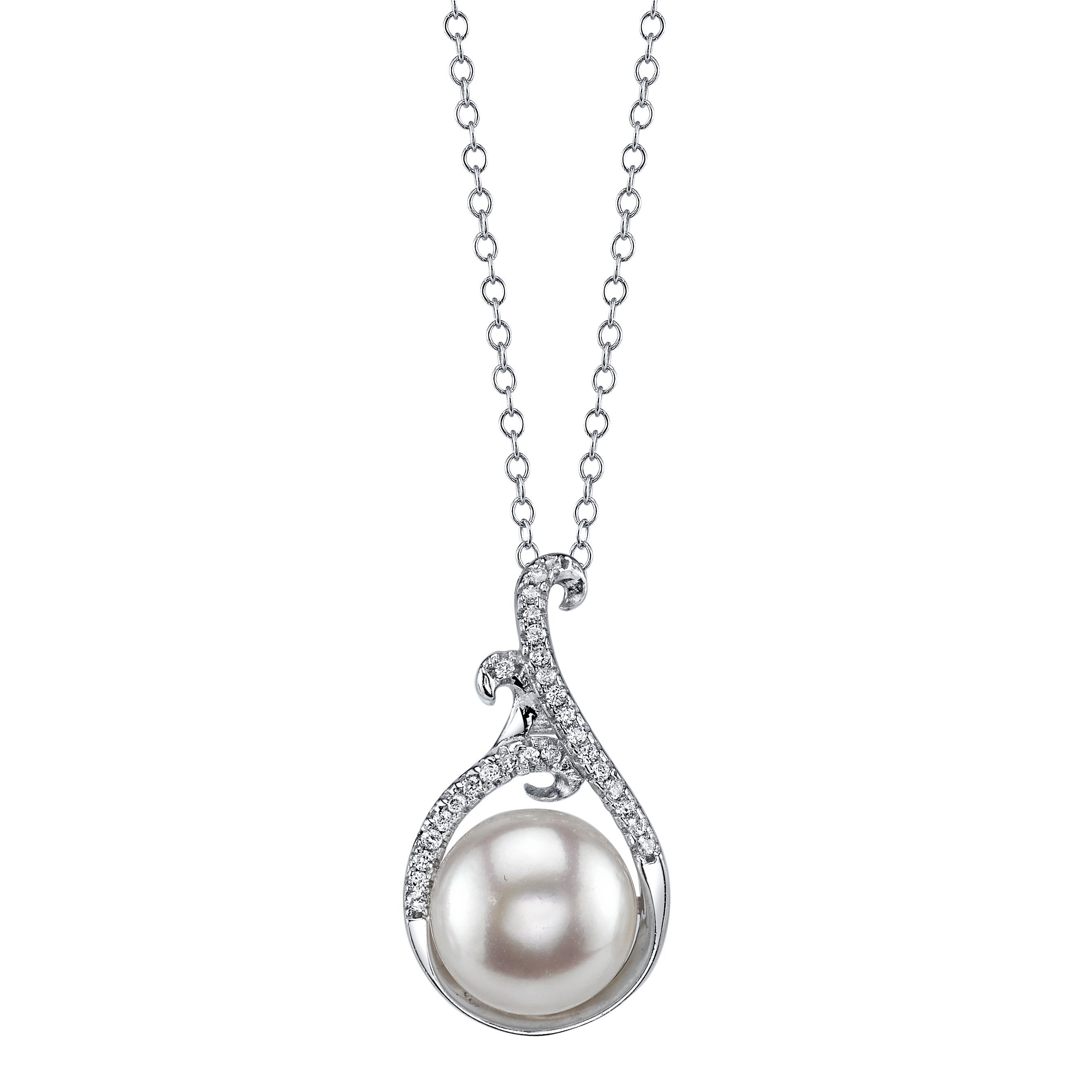 Radiance pearl sterling silver white freshwater pearl and crystal
