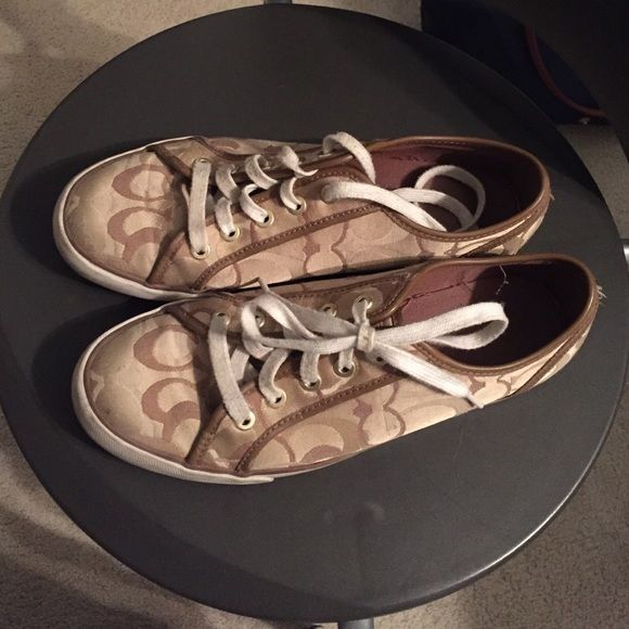 Coach sneakers In good conditions but slightly dirty. Could be cleaned with a bleach cleaner. Willing to negotiate Coach Shoes Sneakers