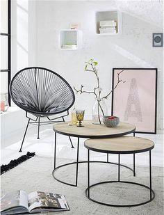 Der Couchtisch Im 2er Set Kommt Im Materialmix Das Filigrane Metallgestell Hat Oben Naturholzplatte Sehen Sie Selb Living Room Inspo Coffee Table Home Decor
