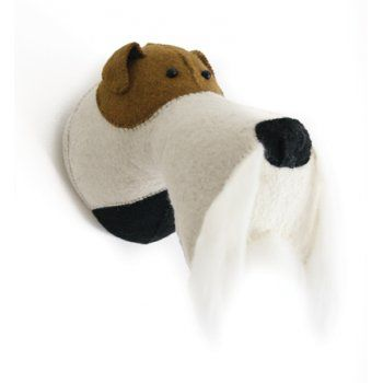 Fiona Walker England Fox Terrier Dog Felt Animal Head Wall