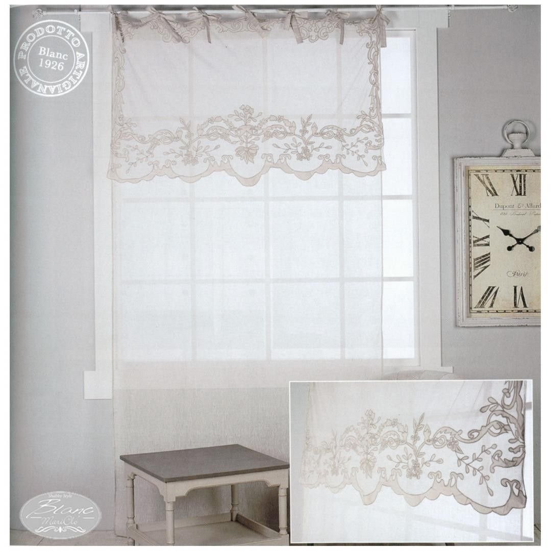Tenda in lino shabby chic con mantovana in cotone ricamata for Tende shabby chic