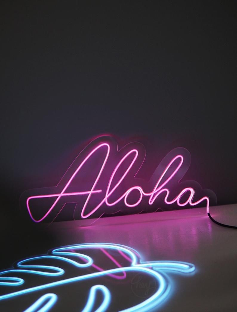 Aloha Glowing Wire Neon Sign Etsy Neon Signs Custom Neon