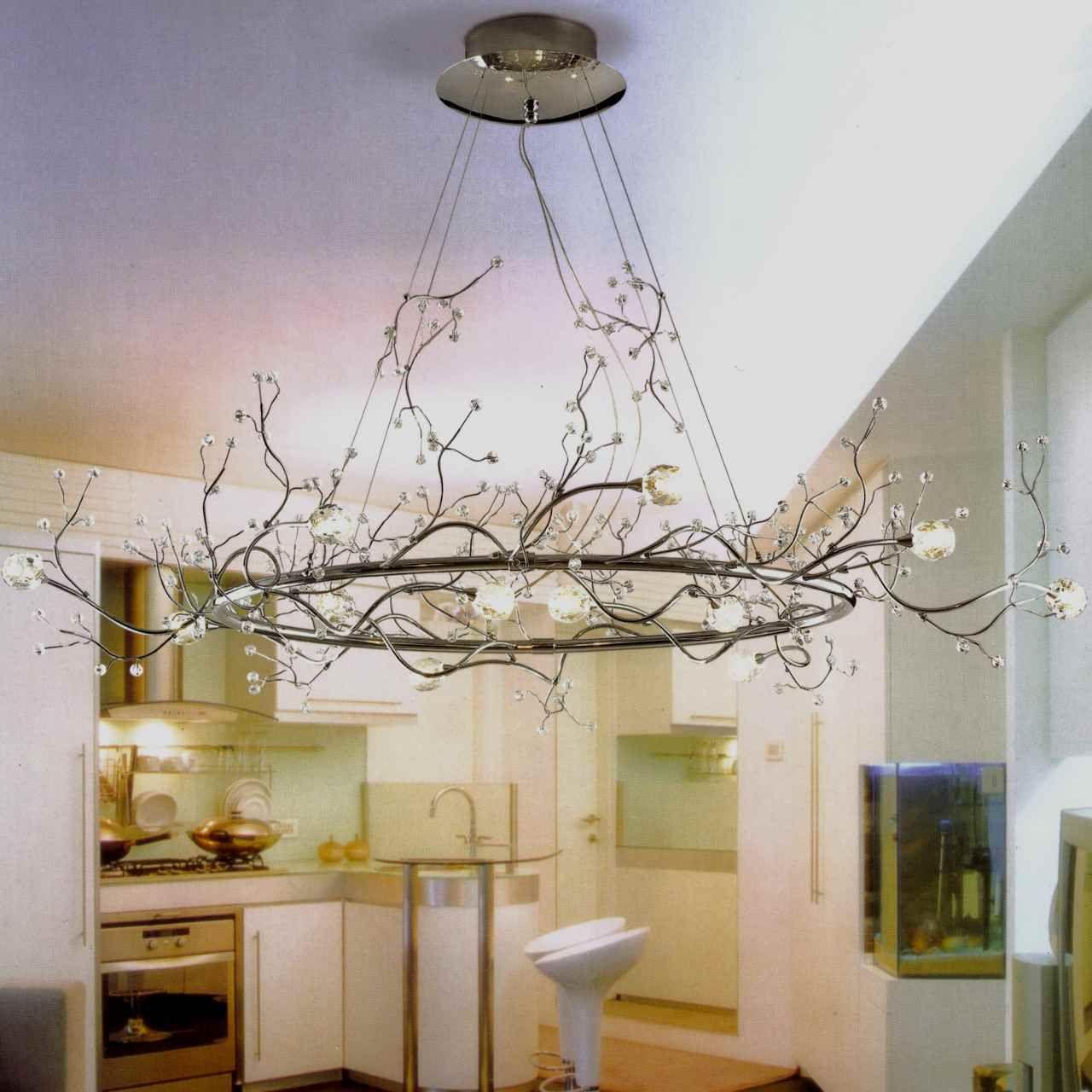 40 Albero Modern Crystal Branch Oval Chandelier Polished Chrome 8 Lights