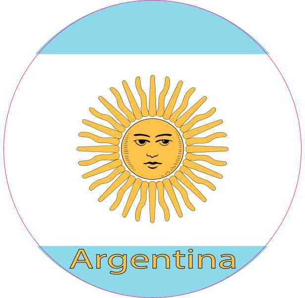 4in x 4in labeled circle argentina flag sticker vinyl vehicle flags decal