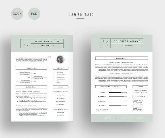 2 Page Resume  Cover Letter by Glowing Pieces on @creativemarket