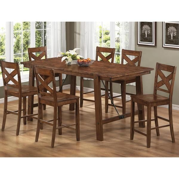 Room Vintage Rustic Pecan Finish Wood Plank 7 Piece Counter Height Dining Set