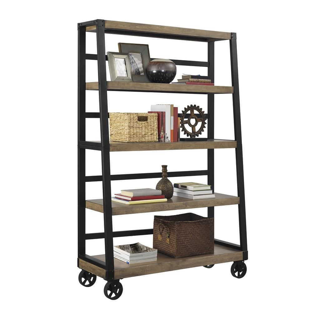 Wade rustic gray mobile ladder bookcase ladder bookcase