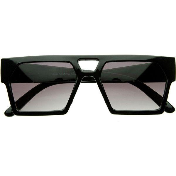 f018b0516d Designer Inspired Triangular Geometric Flat Top Aviator Sunglasses ( 10) ❤  liked on Polyvore featuring