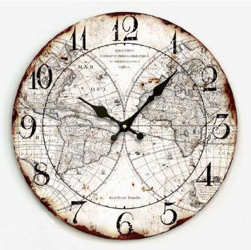Europe country frameless 14 wooden wall clock cafe kitchen europe country frameless 14 wooden wall clock cafe kitchen decoration map of the world gumiabroncs Image collections