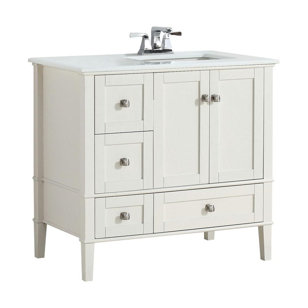 Simpli Home Chelsea 36 In Bath Vanity In Soft White With Quartz Marble Vanity Top In White With Right Off Set White Basin Nl Hhv029 36 2a R The Home Depot White Vanity Bathroom Marble [ 1000 x 1000 Pixel ]