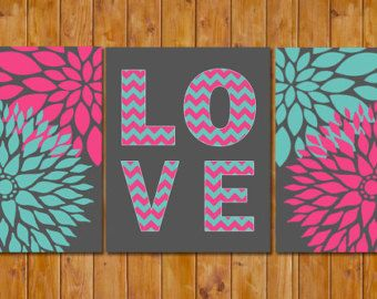 Floral Bloom Blossom Teen Girl\'s Hot Pink Teal Chevron Love Room ...