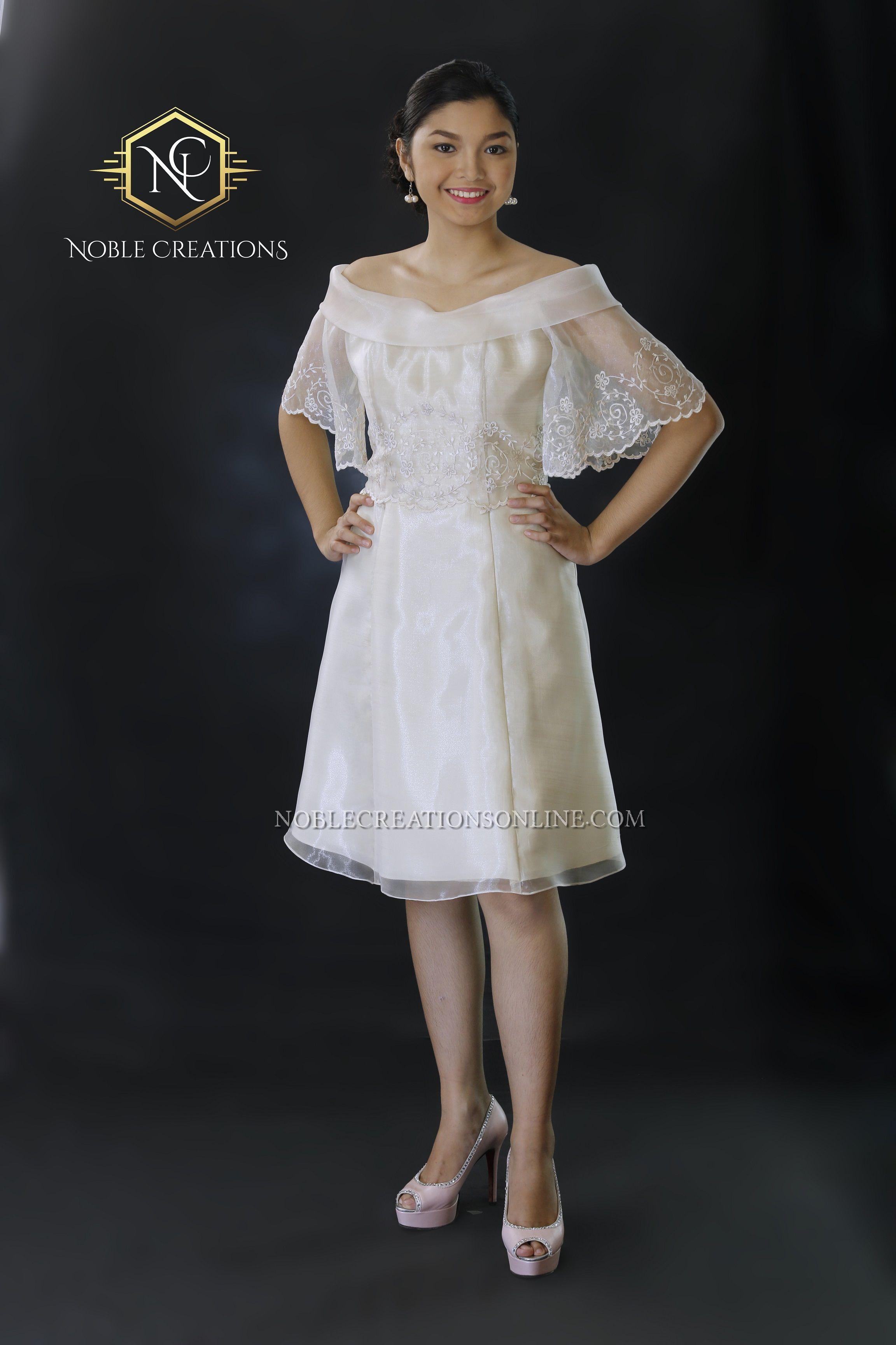 Filipiniana Off-Shoulder Dress on Silk.  b5a43d9d4