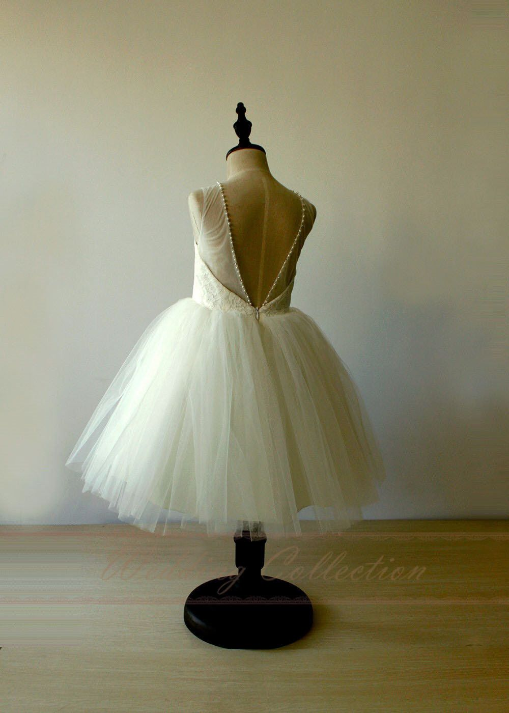 Tutu Ivory Flower Girl Dress Open Back Lace Tulle Birthday Dress with Pearls by Weddingcollection on Etsy https://www.etsy.com/listing/482022382/tutu-ivory-flower-girl-dress-open-back