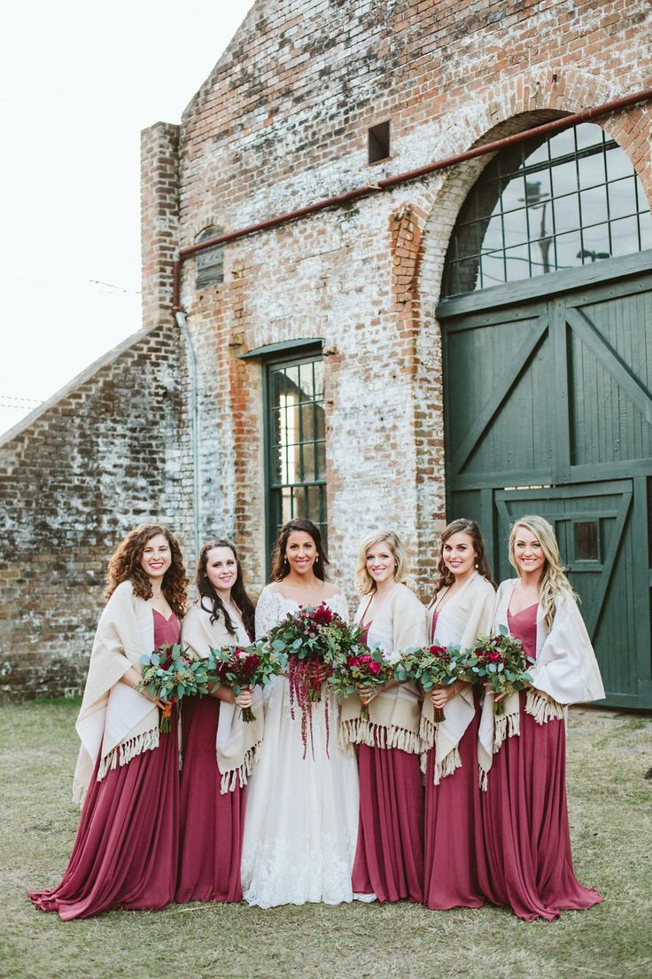 Winter bridal party red bridesmaid dresses cream colored shawls winter bridal party red bridesmaid dresses cream colored shawls follow this board for ombrellifo Image collections