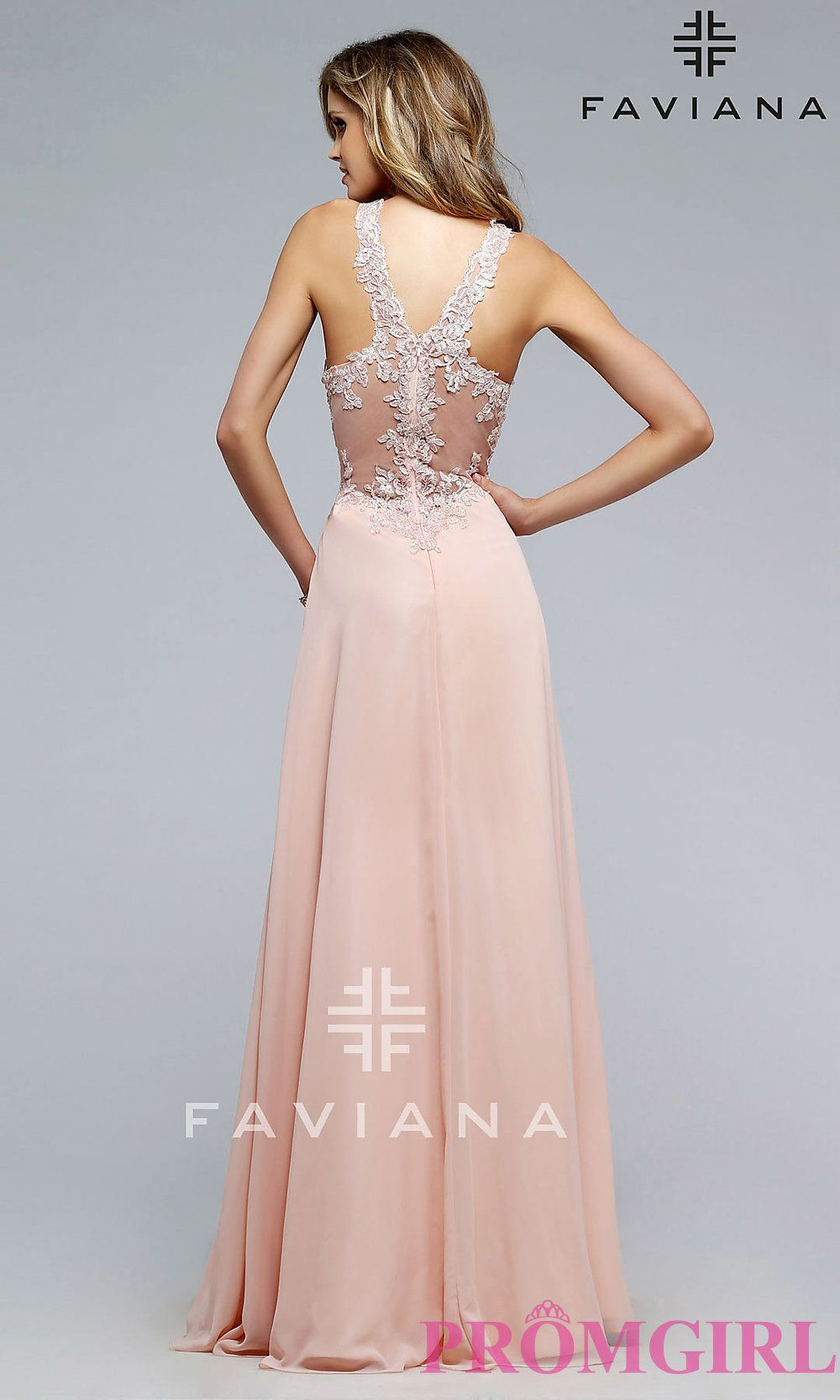 Image of long Faviana formal evening dress with v-neckline Back ...
