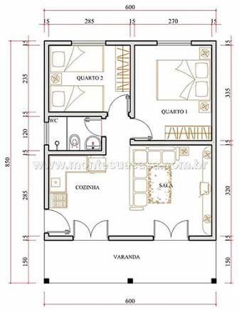 Resultado de imagen para planta de casas 80m2 com garagem for Hoteles en planta