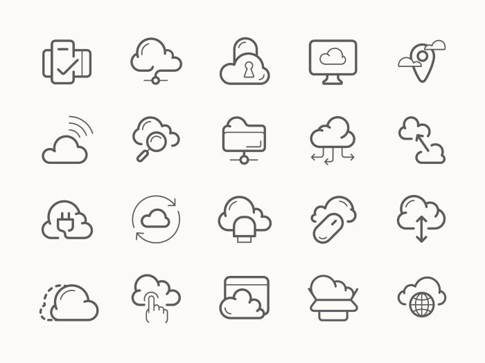 Cloud Icon Service Line Icon Cloud Icon Cloud Services
