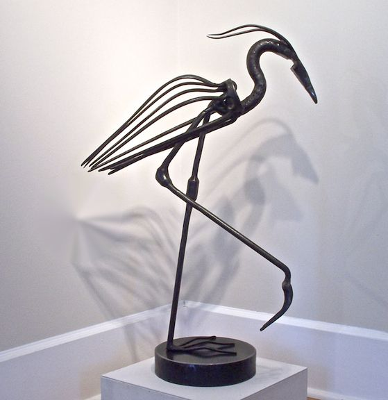 Blue Heron 2011 By Patrick Plourde Vintage Steel Parts 32 X 22 X 9 Available At Maine Art Paintings And Sculpture Maine Art Metal Sculpture Metal Art